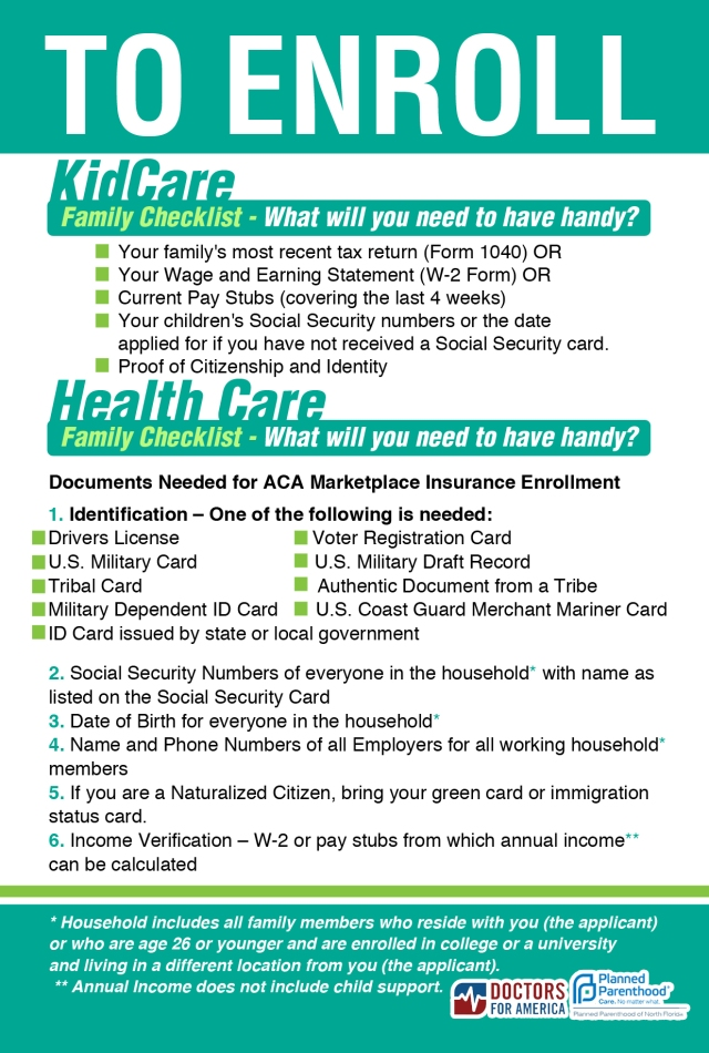 Required Documents Needed for Health Care & Kid Care Enrollment